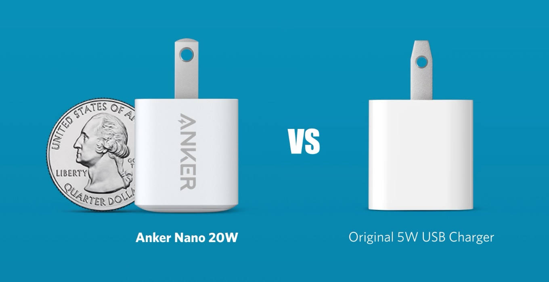 Anker PowerPort III Nano 20W PDとApple 5W電源アダプタのサイズ