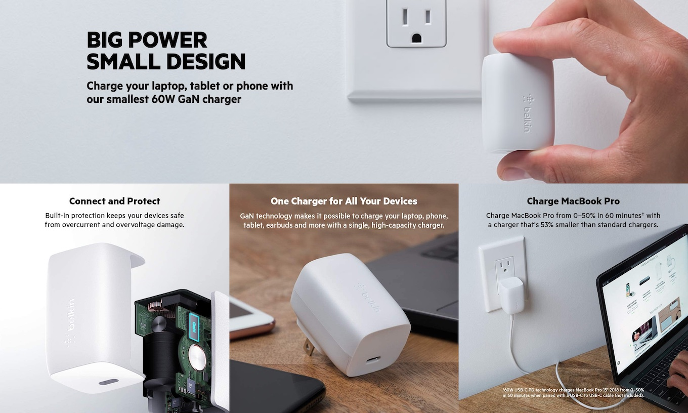 Belkin BOOST CHARGE PRO USB-C PD GaN Wall Charger 60W