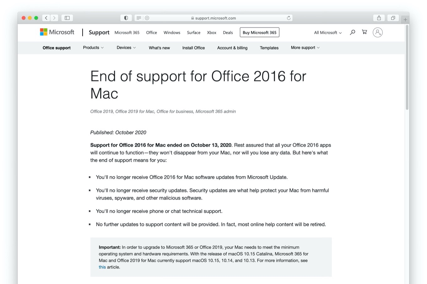 End of support for Office 2016 for Mac