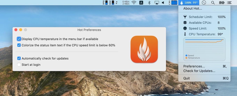 Hot for Macのオプション