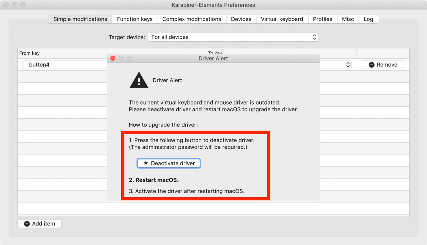 Karabiner-Elements v13 deactivate driver