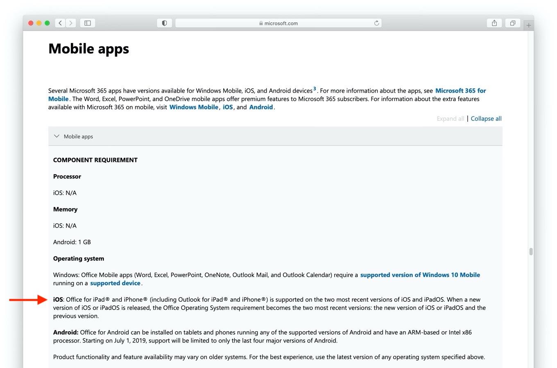 Office for iOSのシステム要件