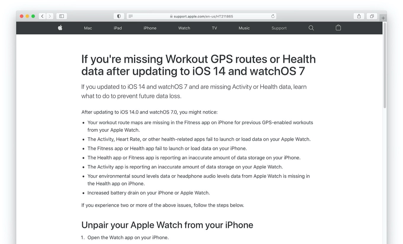 missing Workout GPS routes or Health data after updating to iOS 14 and watchOS 7