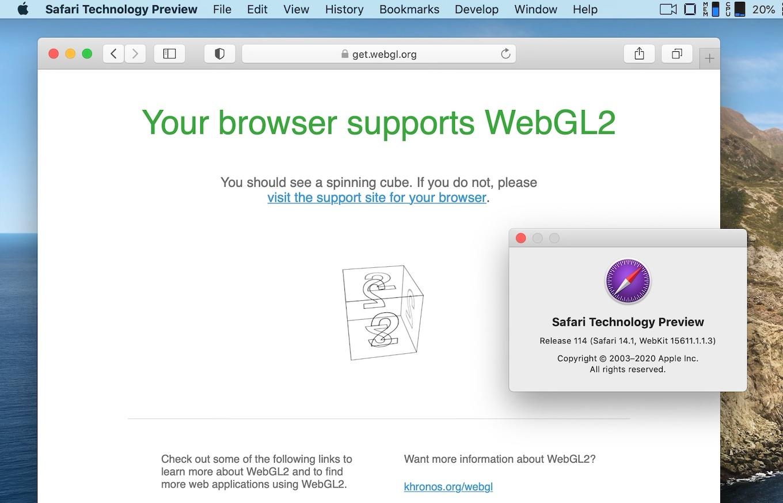 Safari Enabled WebGL2 by default