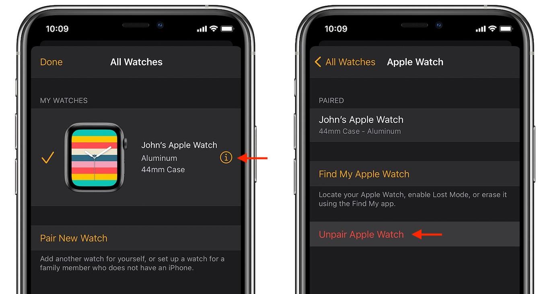 iPhoneとApple Watchのペアリングを解除する