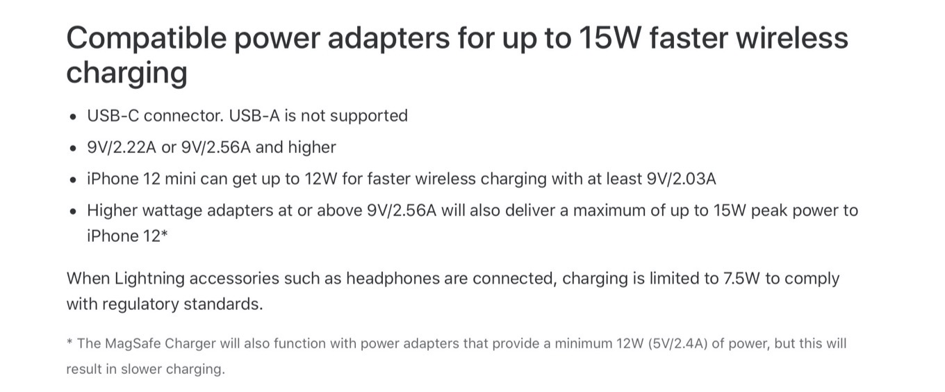 Compatible power adapters for up to 15W faster wireless charging