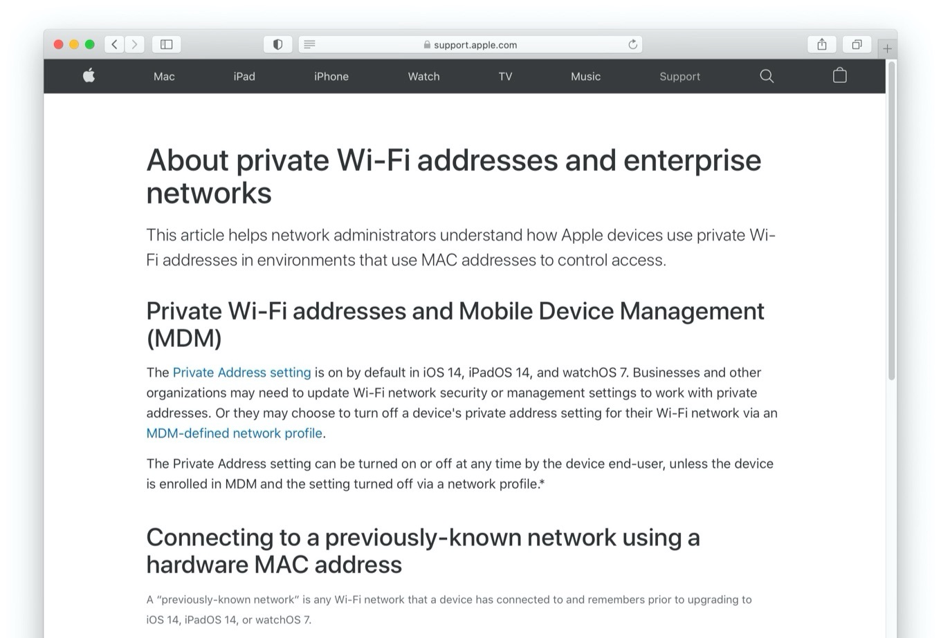About private Wi-Fi addresses and enterprise networks