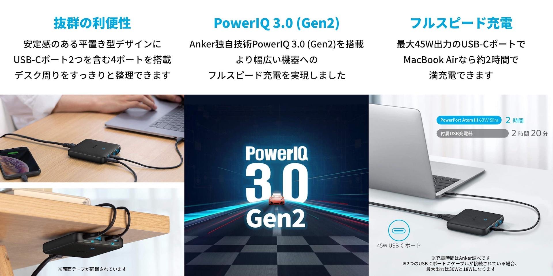 Anker PowerPort Atom III 63W Slimの仕様