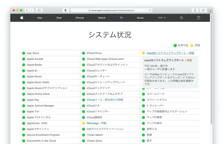 macOS 11 Big Surのソフトウェアアップデートエラー