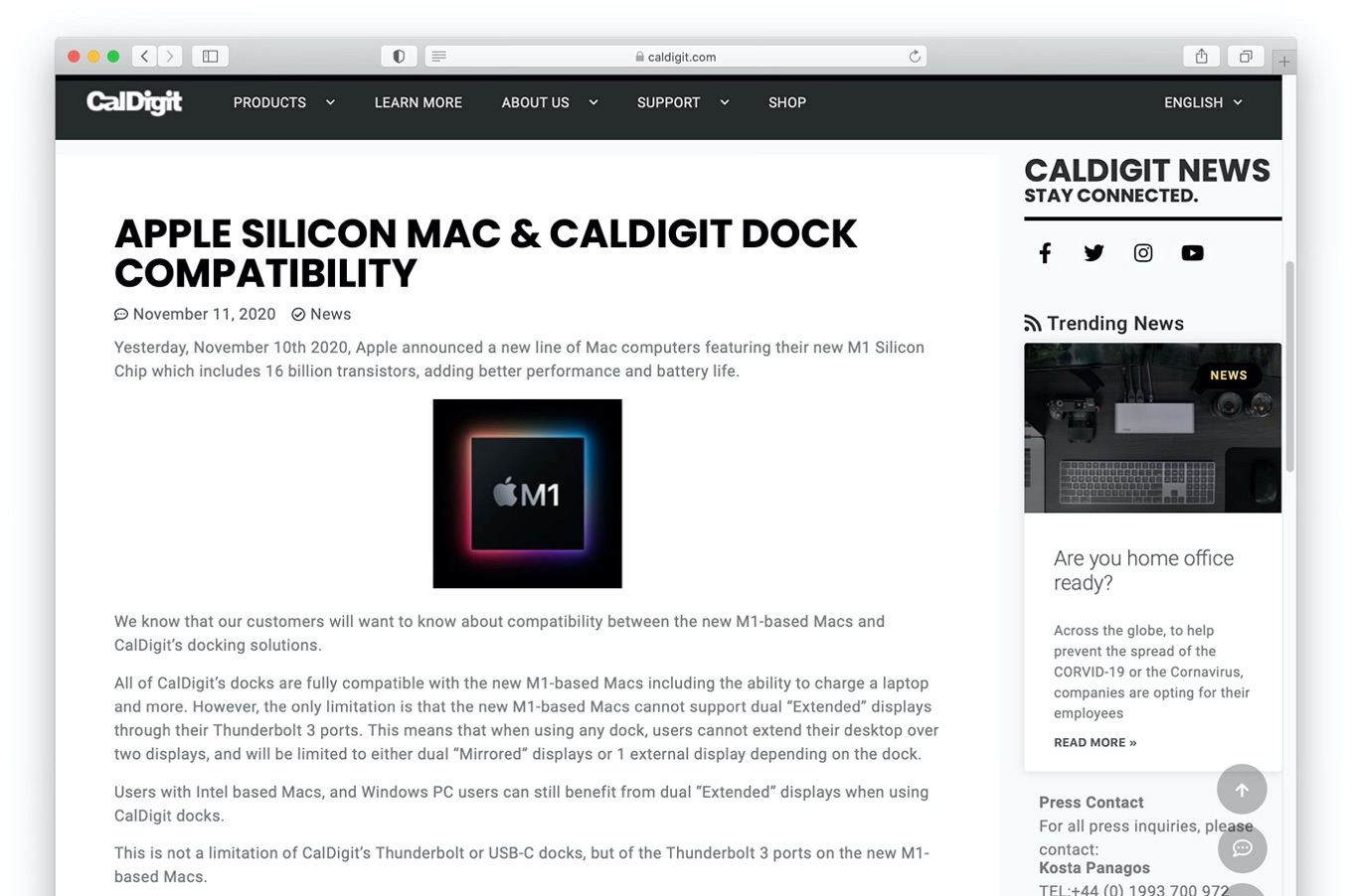 Apple Silicon Mac & CalDigit Dock Compatibility