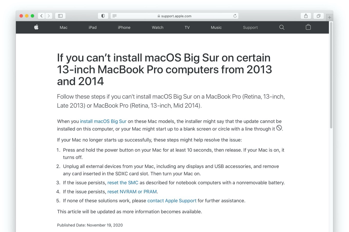If you can't install macOS Big Sur on certain 13-inch MacBook Pro computers from 2013 and 2014