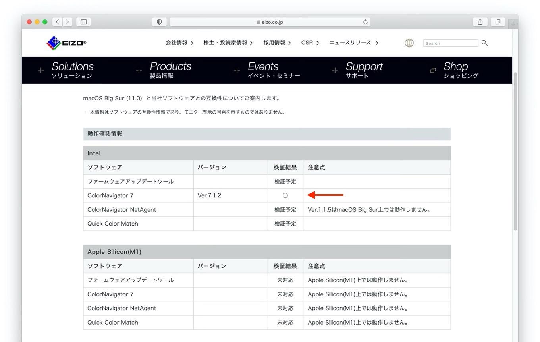 macOS Big Sur (11.0) とEIZOソフトウェアの互換性