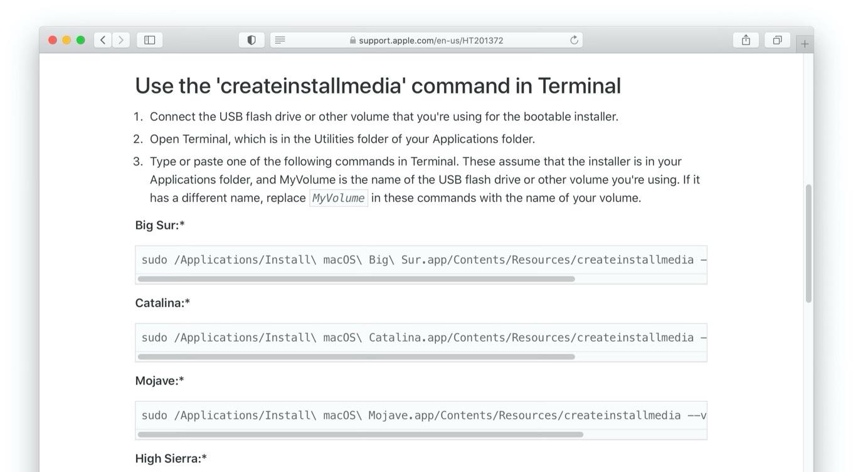 ターミナルで 'createinstallmedia' コマンドを使う