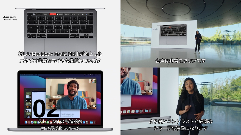 M1 MacBook Proのカメラとオーディオ