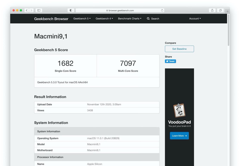 Mac mini (M1, 2020)のベンチマーク
