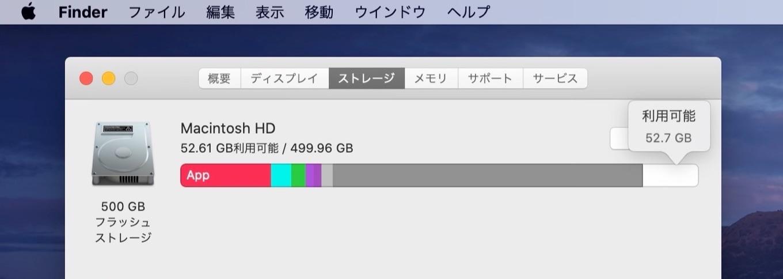 Macintosh HDのストレージ
