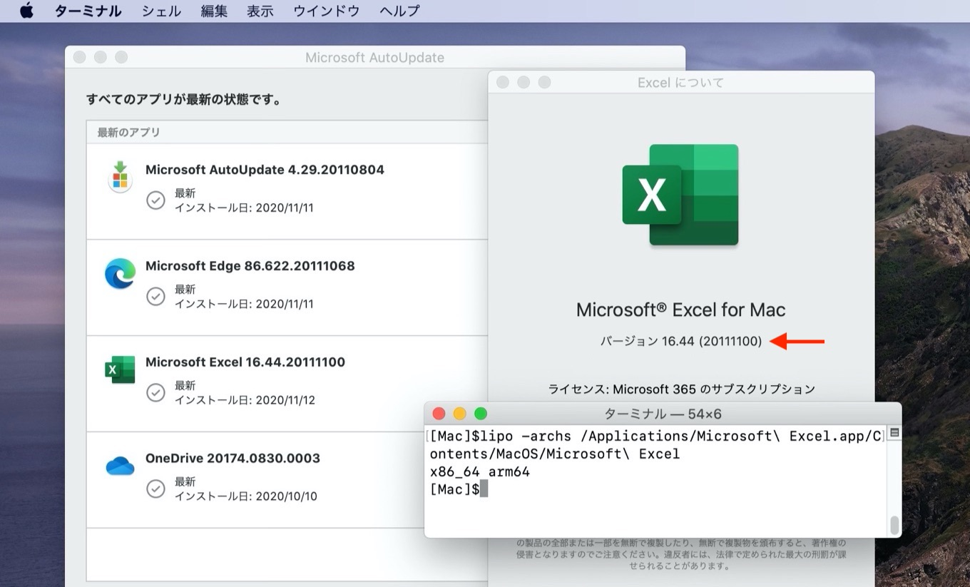 Excel for Mac universal