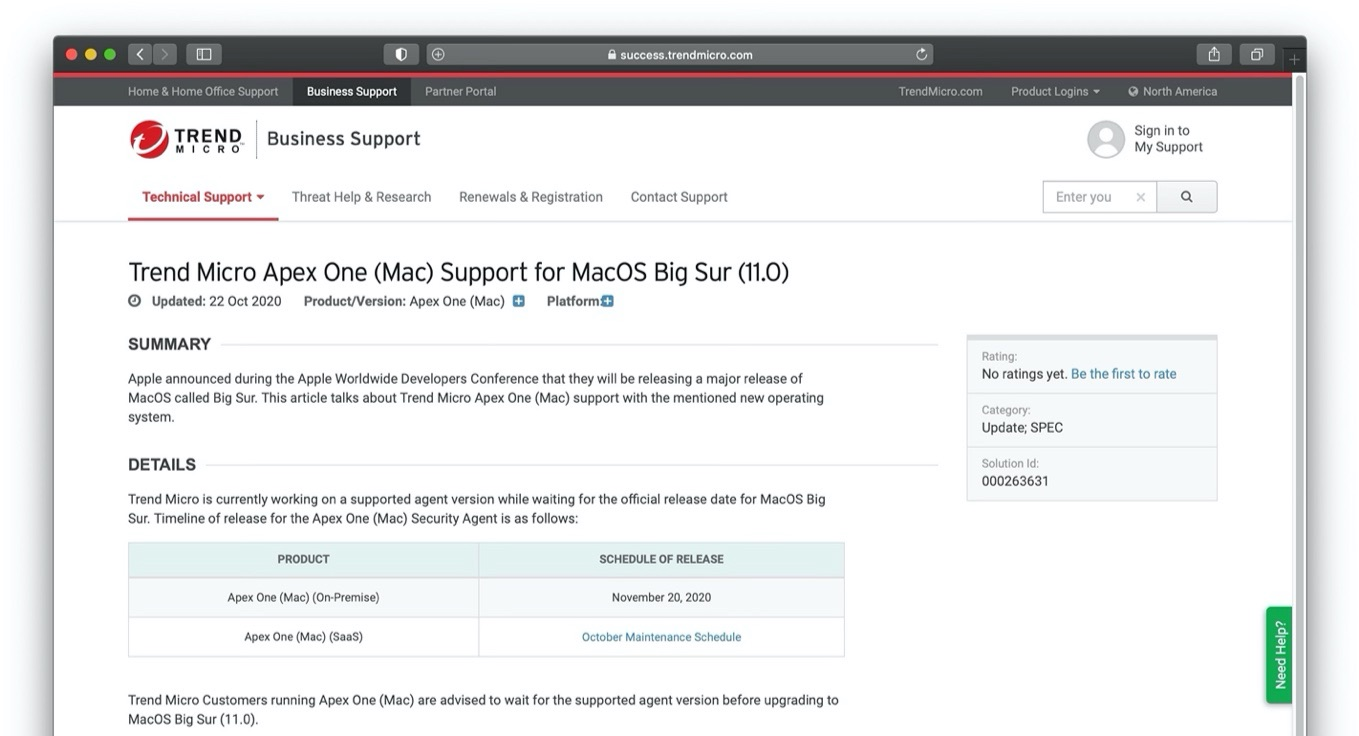 Trend Micro Apex One (Mac) Support for MacOS Big Sur