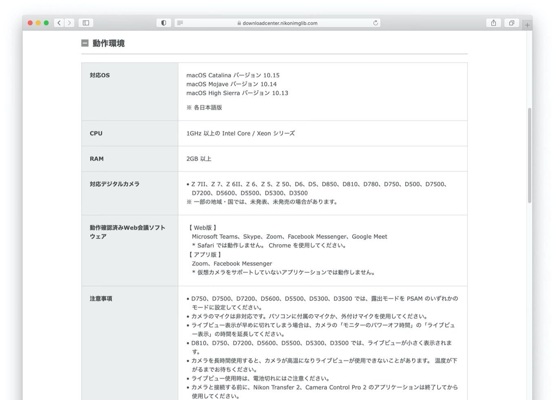Webcam Utility for Macの注意事項