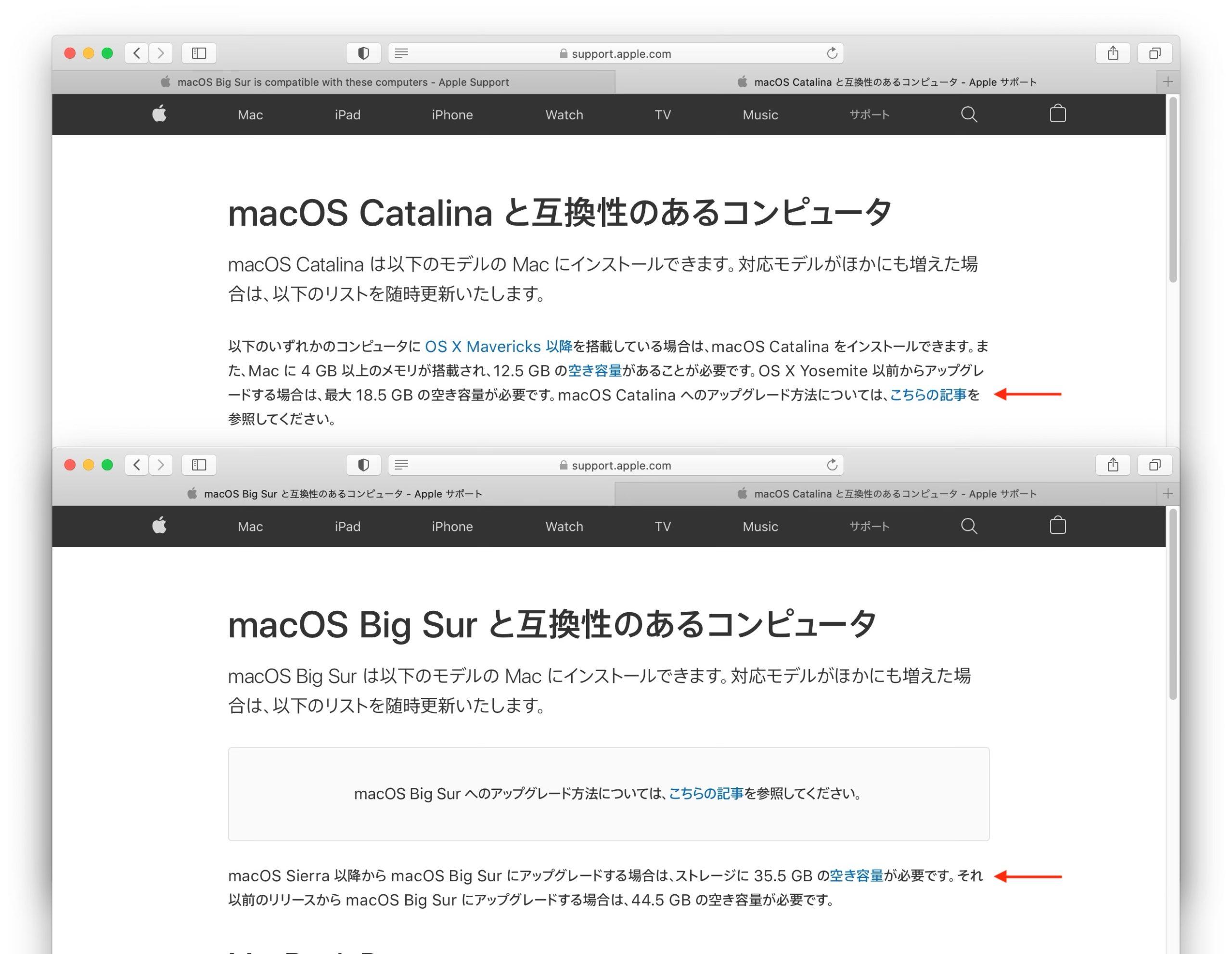 macOS 10.15 CatalinaとmacOS 11 Big Surへアップグレードするために必要なストレージ容量