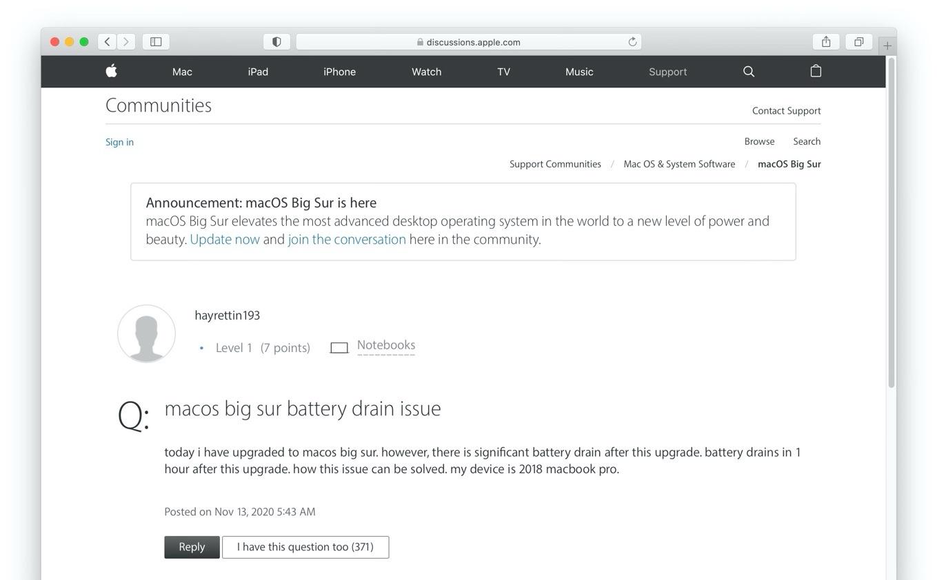 macOS 11 Big Surのバッテリードレイン