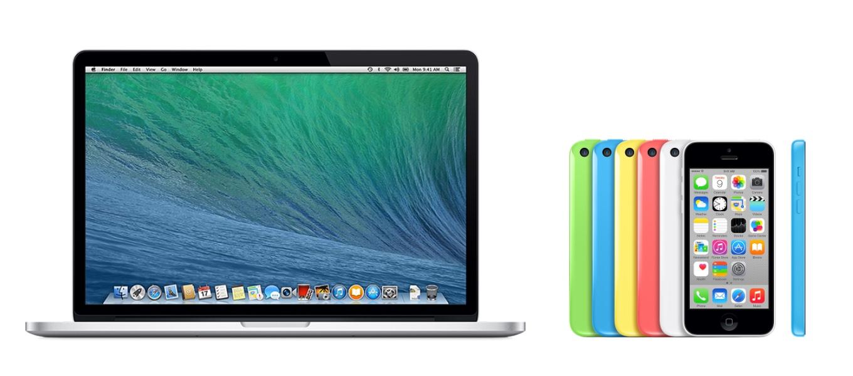 MacBook Pro (Retina, 15-inch, Mid 2014)とiPhone 5C