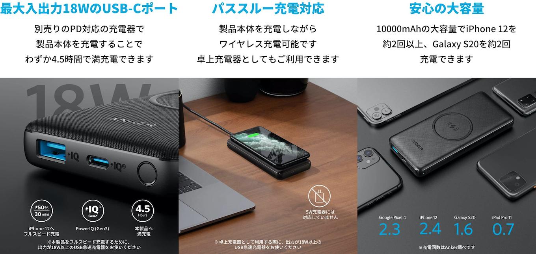 PowerCore III 10000 Wirelessの特徴