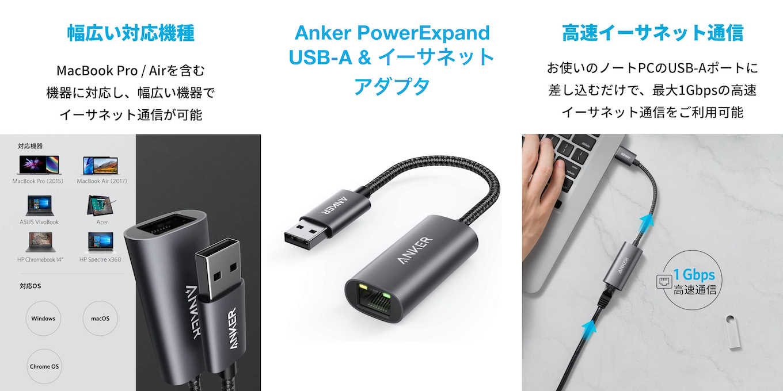 Anker PowerExpand USB-A & イーサネット アダプタ