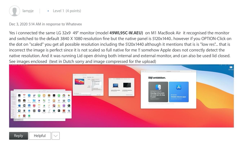 MacBook Air (M1, 2020)とウルトラワイドディスプレイ