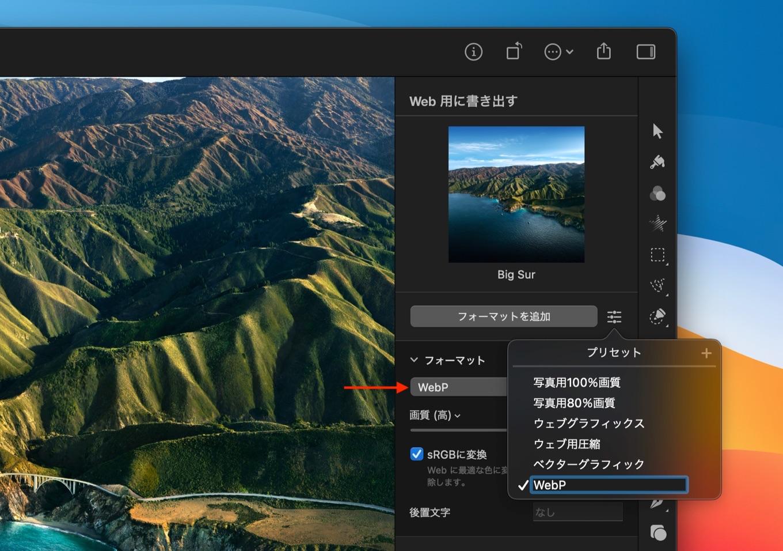 Pixelmator Pro 2.0.2のWebツールでWebP