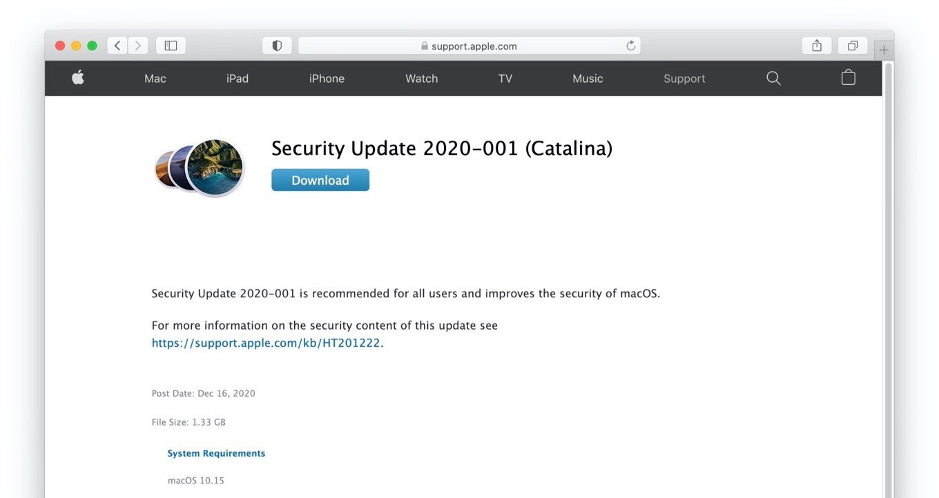 Security Update 2020-001 (Catalina)