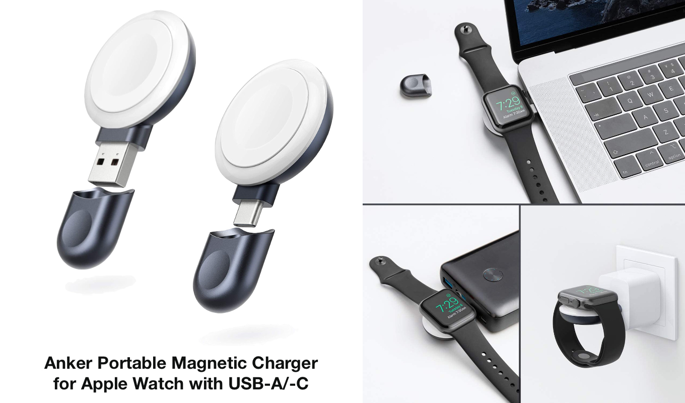 Anker Portable Magnetic Charger for Apple Watch with USB-A/-C