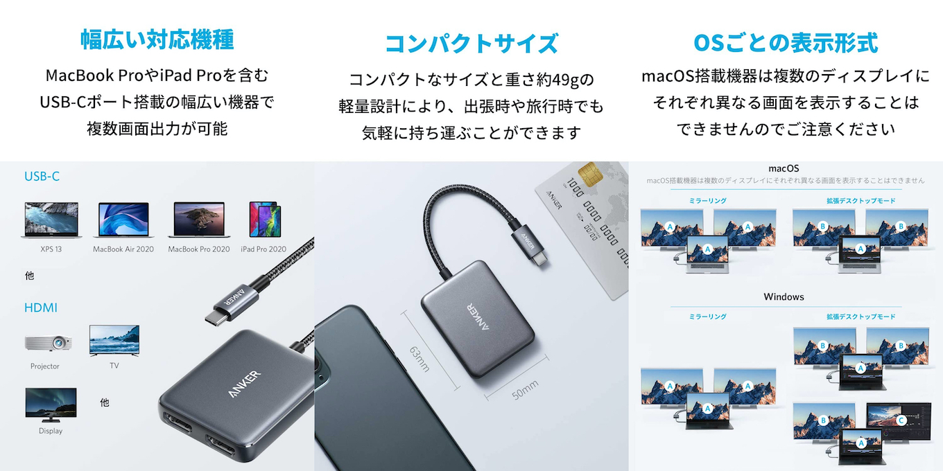Anker PowerExpand USB-C & Dual HDMI アダプタ
