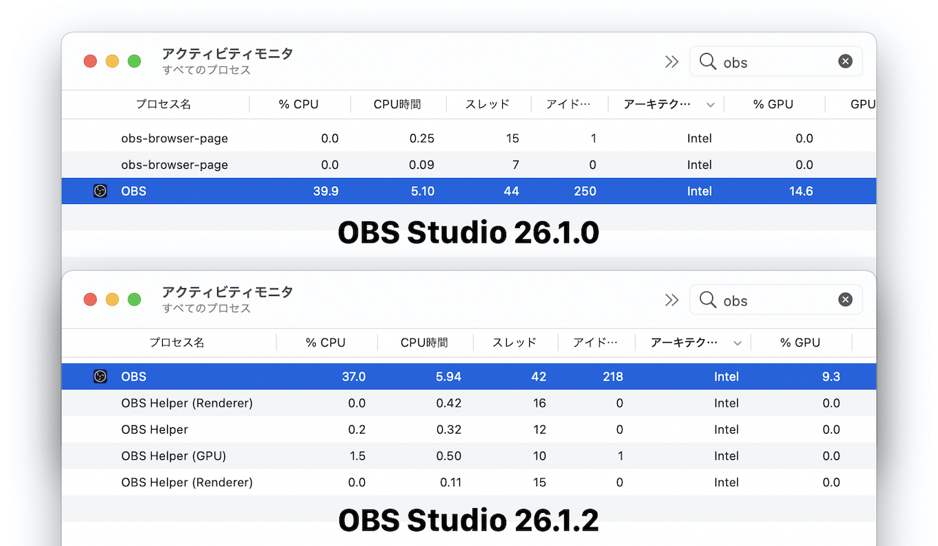OBSでHardware accelerated renderingがサポート