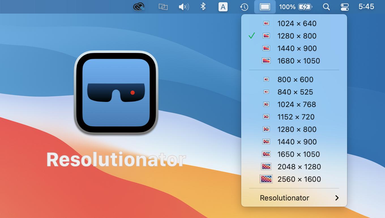 Resolutionator for Macの設定