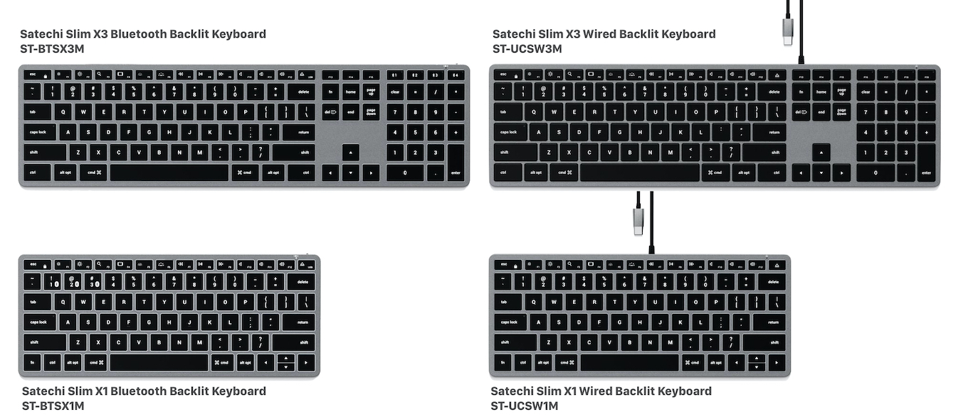 Satechi Slim X3 and X1 Wired Backlit Keyboard