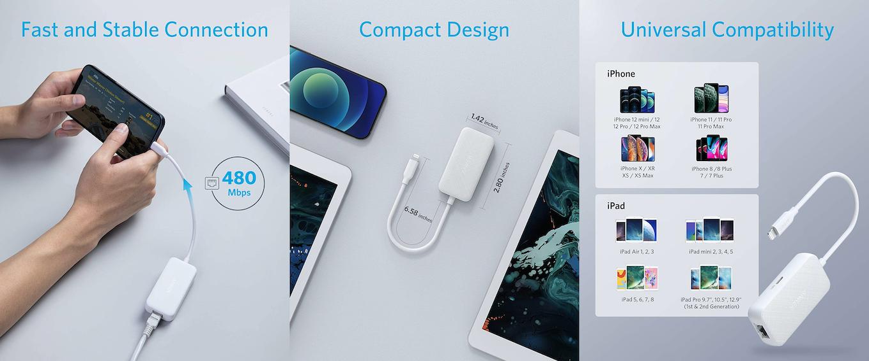 Anker Lightning to Ethernet + Charging Adapter