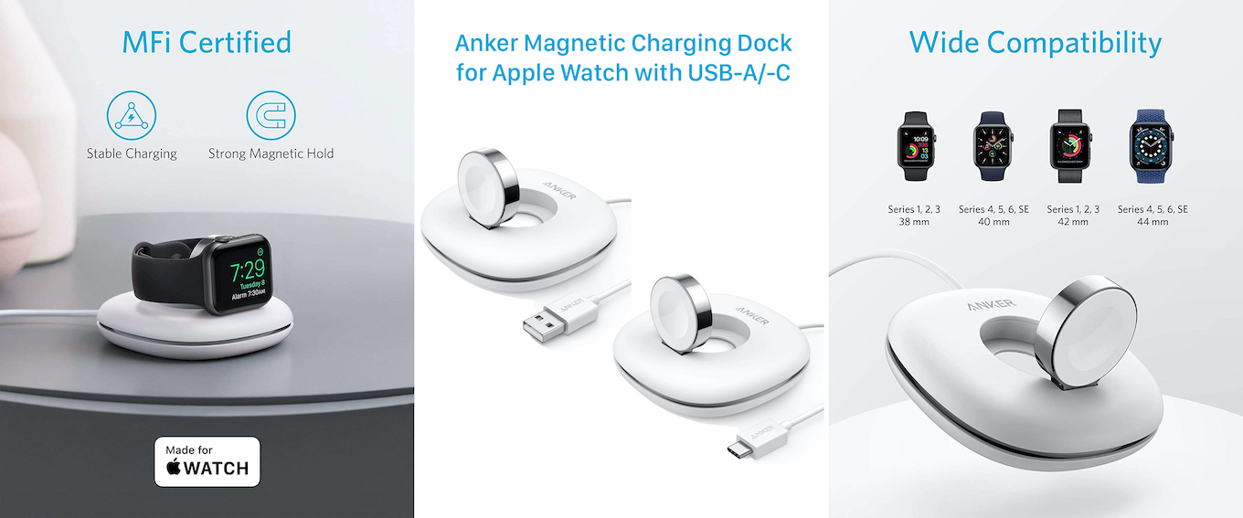 Anker Magnetic Charging Dock for Apple Watch with USB-C