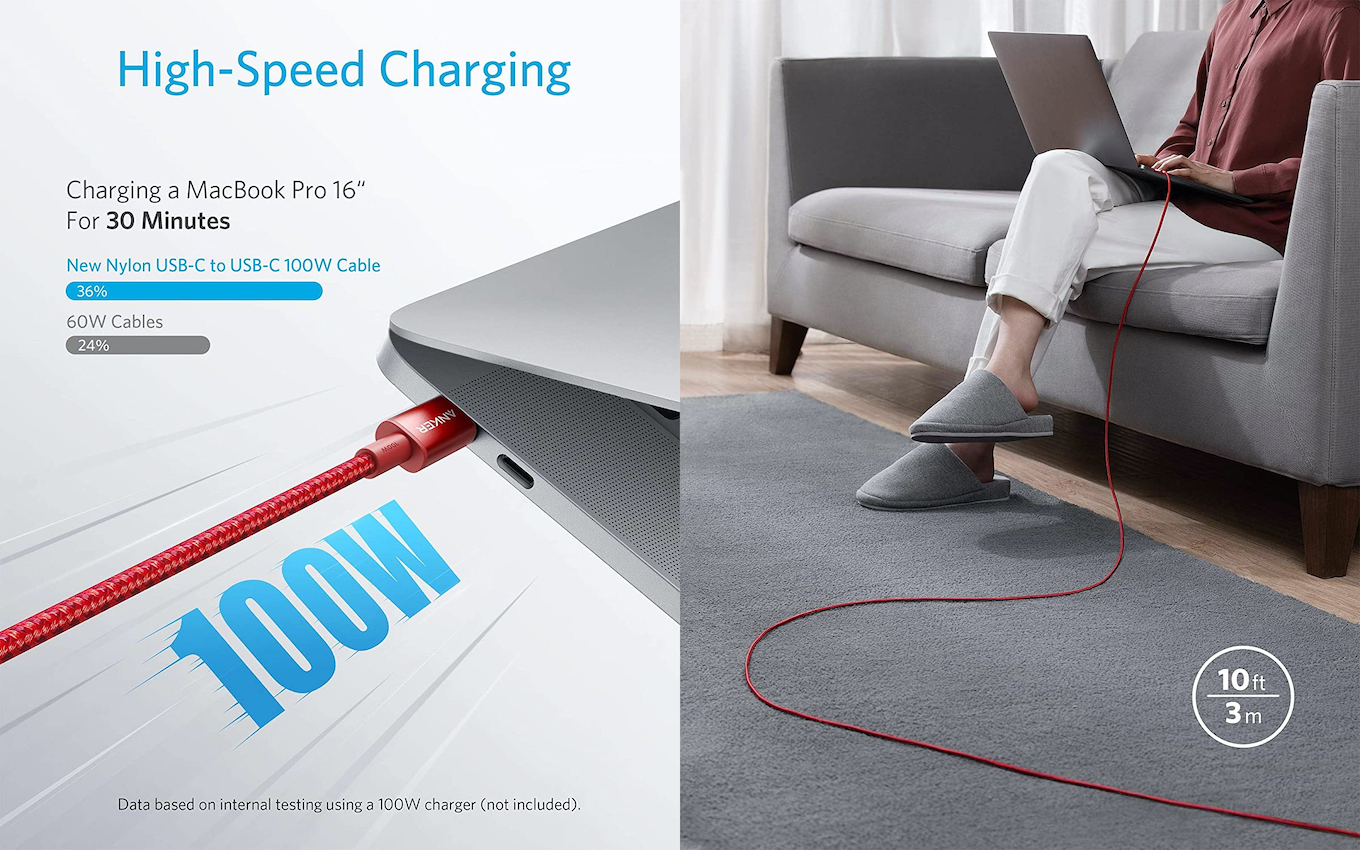 Anker New Nylon USB-C to USB-C 100W Cable
