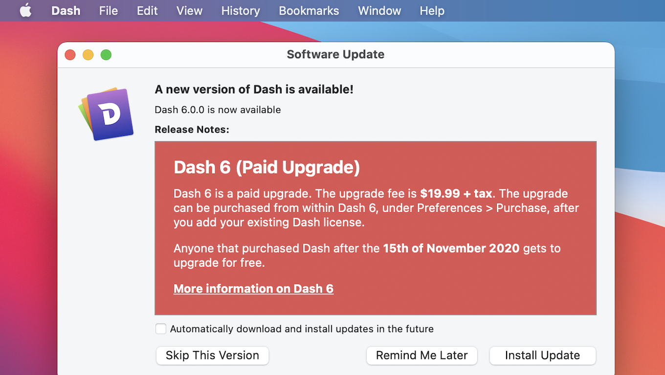 Dash 6 for macOS Now Available