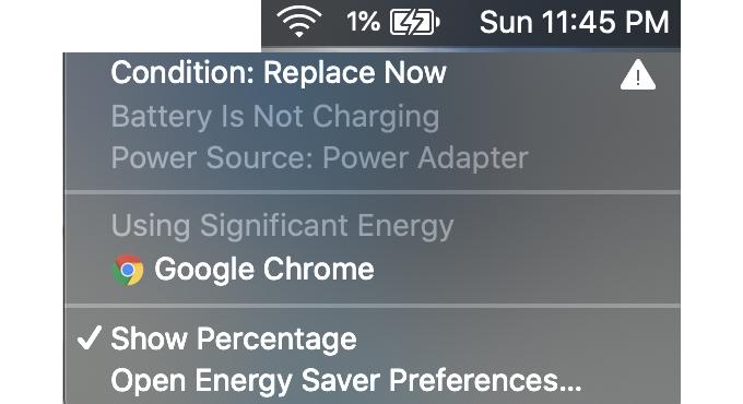 1%以上充電されないMacBook Proのバッテリー