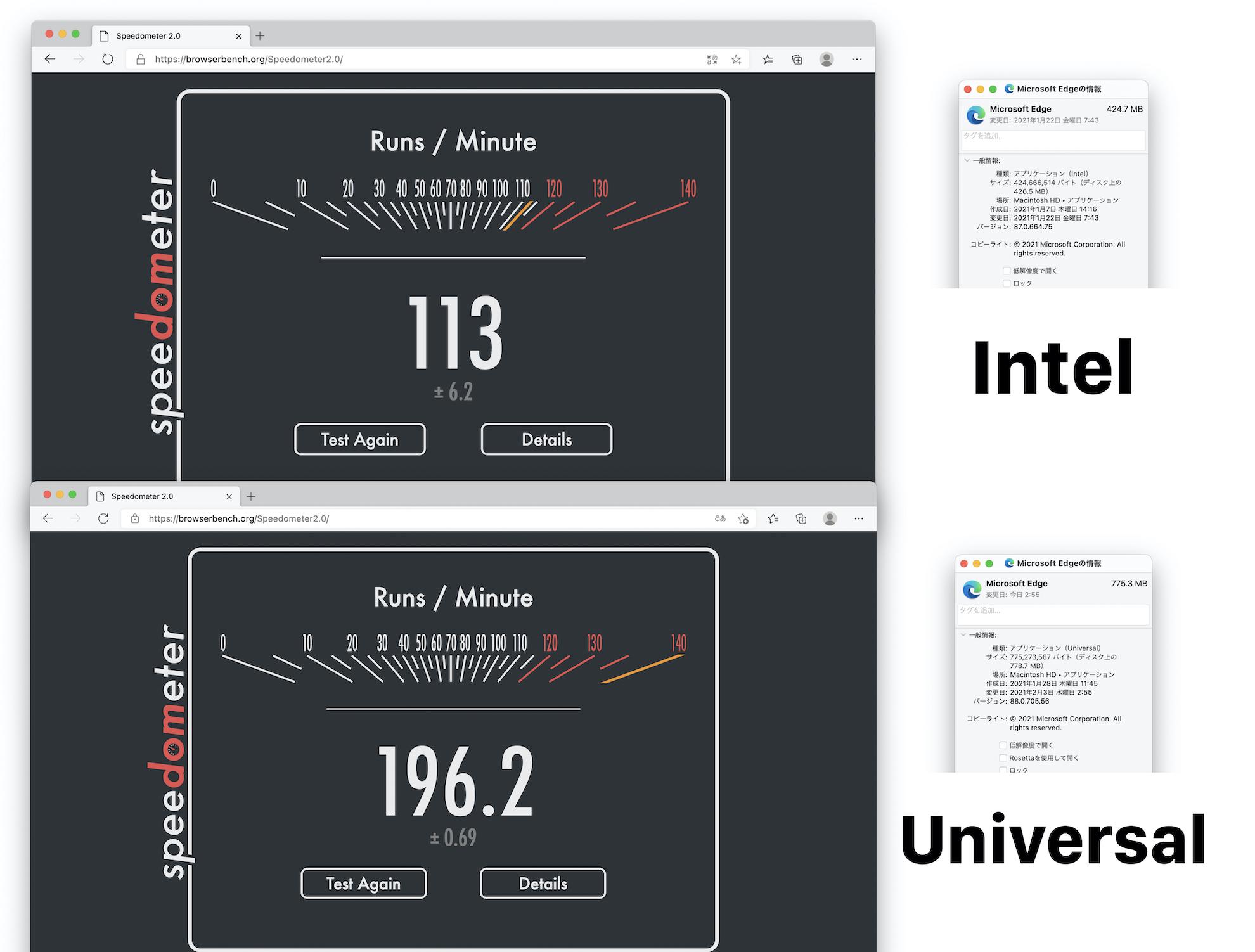 IntelとUniversal版のMicrosoft Edge