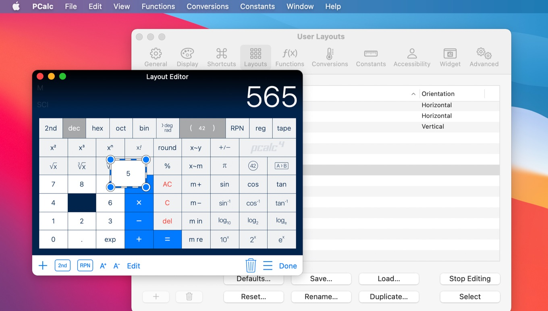 PCalc for Macのボタンのレイアウト機能
