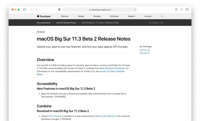 macOS Big Sur 11.3 Beta 2 Release Notes