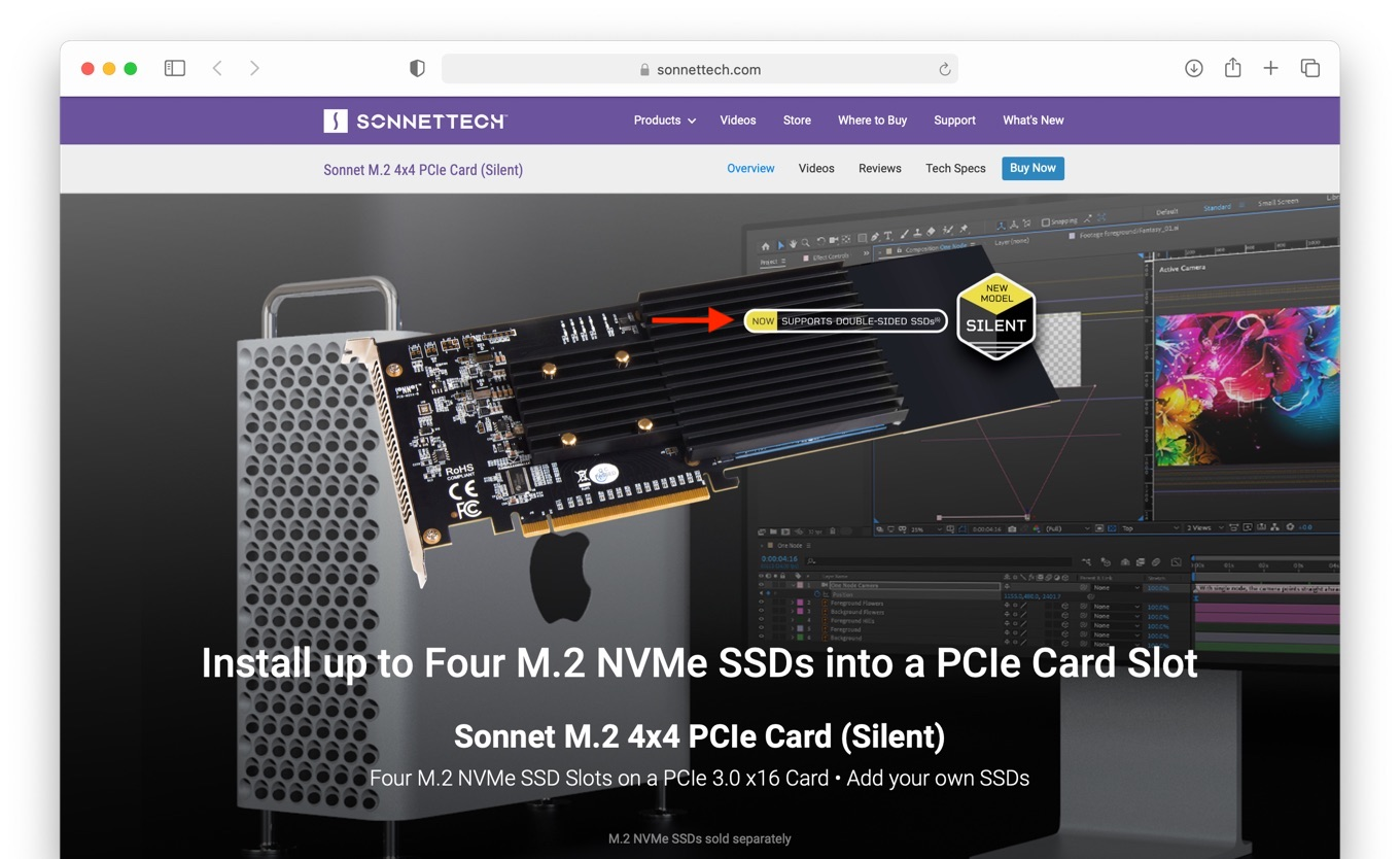 Sonnet M.2 4×4 PCIe Card (Silent) support Double-Sided SSD