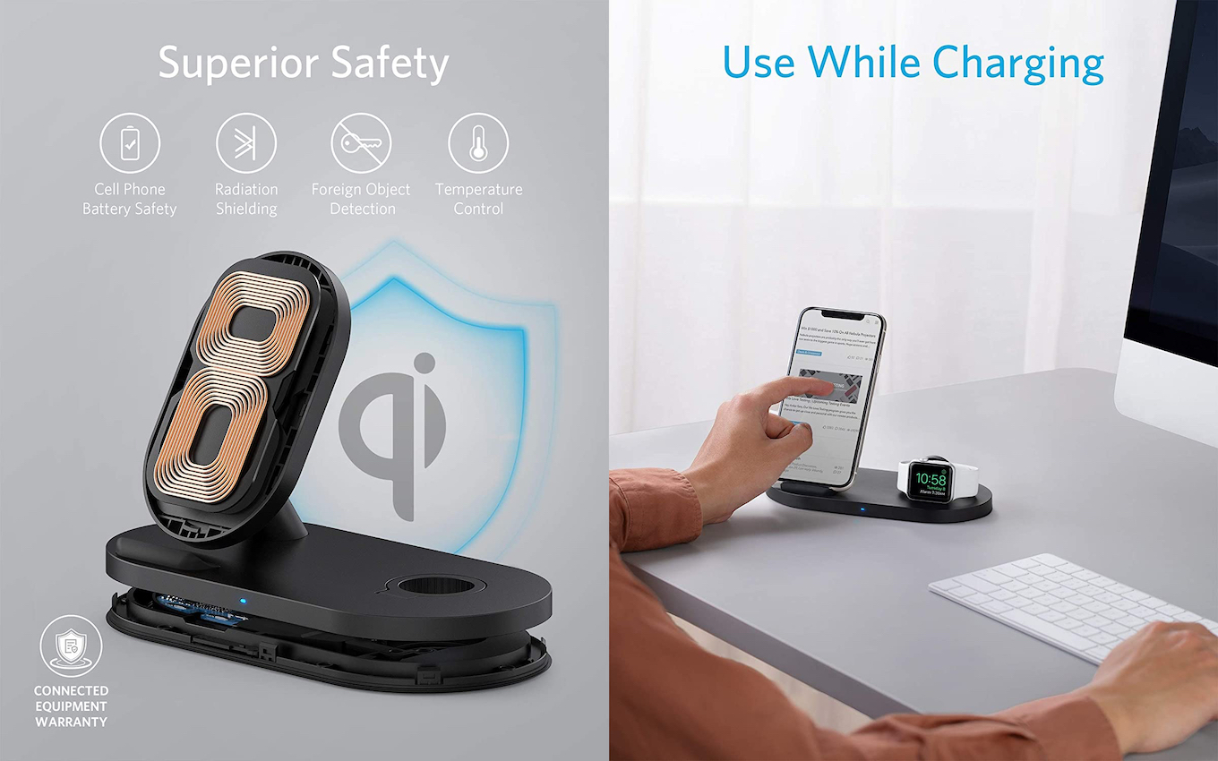 Anker PowerWave Sense 2-in-1 Stand with Watch Charging Holder
