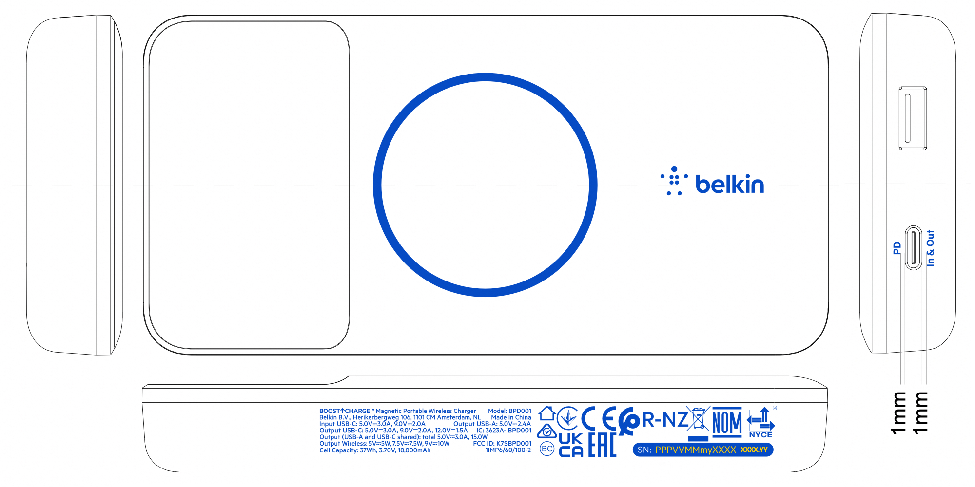 Belkin BOOST↑CHARGE Magnetic Portable Wireless Charger BPD001