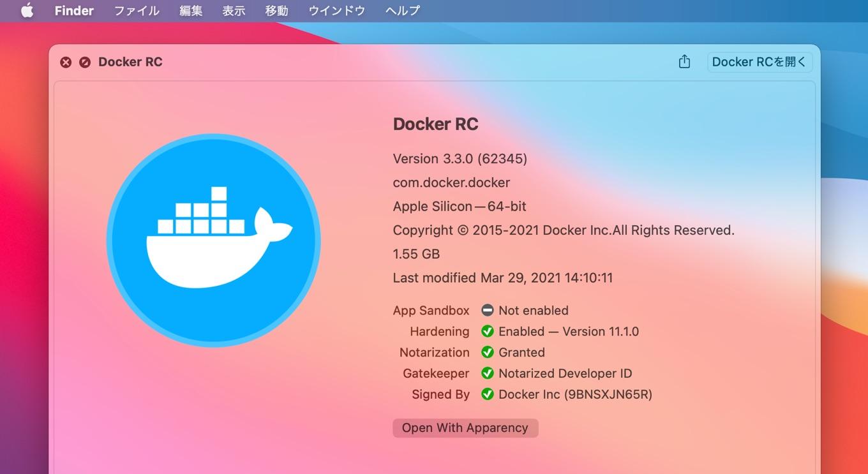 Docker Desktop for Mac RC 2 v3.3.0 (62345)