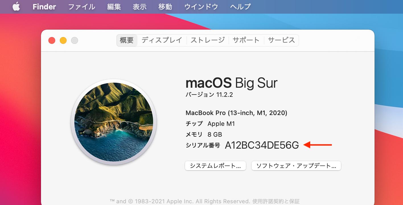 MacBook Pro (M1, 13-inch, 2020) Serial Number