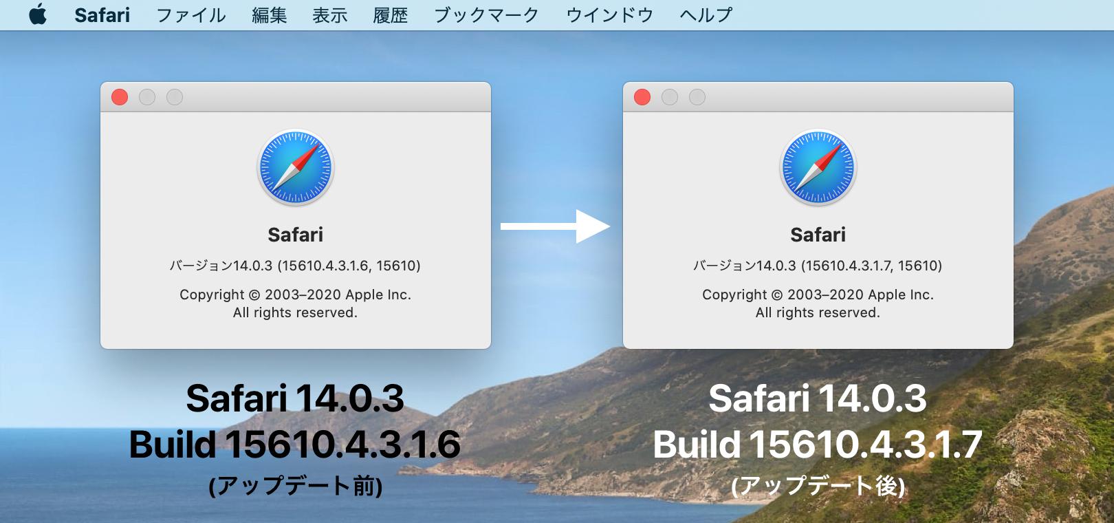 CatalinaのSafari 14.0.3ではBuild 15610.4.3.1.7